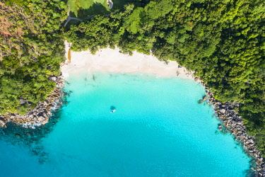 CLKAC93490 Aerial view of Anse Georgette, Praslin island, Seychelles, Africa