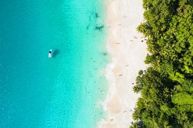 CLKAC93491 Aerial view of Anse Georgette, Praslin island, Seychelles, Africa