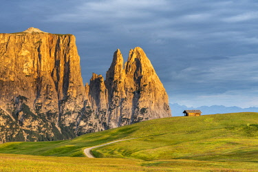 CLKMK92876 Alpe di Siusi/Seiser Alm, Dolomites, South Tyrol, Italy. Sunrise on the Alpe di Siusi with the peaks of Sciliar