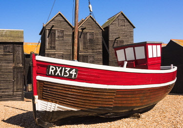 ENG15822AW A fishing boat and the net shops ( a weather-proof storage for the fishing gear), Hasting Old Town, Sussex, England