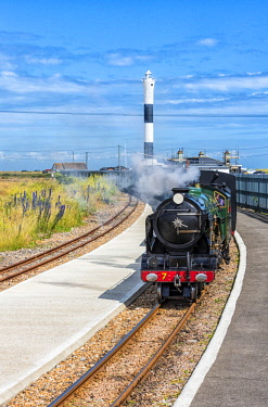 ENG15842AW Romney, Hythe and Dymchurch Railway train arriving at the Dungeness railway station, Kent, England