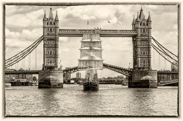 ENG15859AW Tall Ship Thalassa passing through the Tower Bridge, London, England