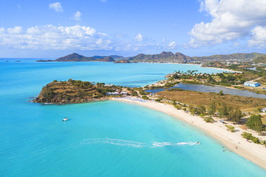 CLKRM94560 Fine sand beach awashed by turquoise sea, Ffryes Beach, Antigua, Antigua and Barbuda, Caribbean, Leeward Islands, West Indies