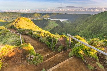 CLKFV94312 Portugal, Azores archipelago, Sao Miguel island, Sete Cidades, Boca do Inferno viewpoint, view over Lagoa Santiago and Lagoa Azul crater lakes