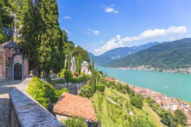 CLKFV94323 Switzerland, Ticino, Lake Lugano, Morcote, high angle town view