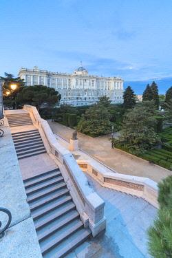 CLKRM93722 Royal Palace of Madrid (Palacio Real de Madrid) seen from Jardines De Sabatini, Spain