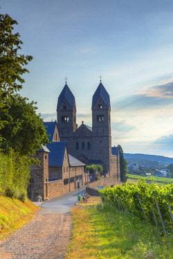 GER11339AWRF St Hildegard Abbey and vineyards, Rudesheim, Rhineland-Palatinate, Germany