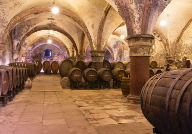 GER11075AW Wine cellar of Kloster Eberbach (Eberbach Monastery), Eichberg, Rhineland-Palatinate, Germany