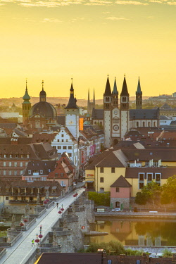 GER11212AW View over Wurzburg at sunrise, Bavaria, Germany