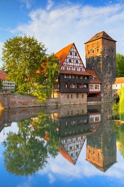 GER11265AW Weinstadel and Maxbrucke along River Pegnitz, Nuremberg, Bavaria, Germany
