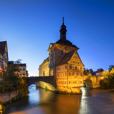 GER11300AW Altes Rathaus (Old Town Hall) at dusk, Bamberg (UNESCO World Heritage Site), Bavaria, Germany