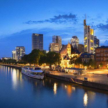 GER11323AW Skyline along River Main at dusk, Frankfurt, Hesse, Germany