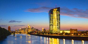 GER11328AW European Central Bank at dusk, Frankfurt, Hesse, Germany