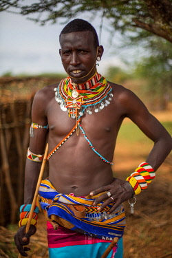 KEN11296 Loisaba, Elewana Collection, Laikipia, Kenya, portait of Samburu warrior