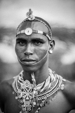 KEN11299 Loisaba, Elewana Collection, Laikipia, Kenya, portait of Samburu warrior