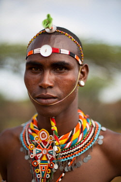 KEN11300 Loisaba, Elewana Collection, Laikipia, Kenya, portait of Samburu warrior