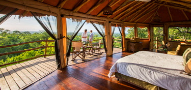 TZ3760 Tarangire Treetops, Tanzania, Elewana Collection, guest room erected on stilts with gorgeous tree top views