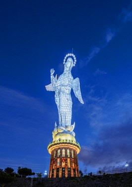 ECU1327AW Virgin of El Panecillo at twilight, Quito, Pichincha Province, Ecuador