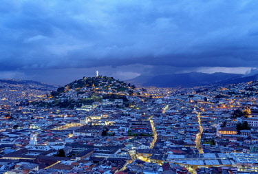 ECU1396AW View over Old Town towards El Panecillo Hill at twilight, Quito, Pichincha Province, Ecuador