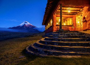 ECU1421AW Tambopaxi Mountain Shelter and Cotopaxi Volcano at twilight, Cotopaxi National Park, Cotopaxi Province, Ecuador