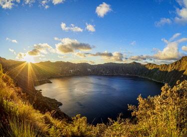 ECU1426AW Lake Quilotoa at sunset, Cotopaxi Province, Ecuador
