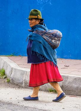 ECU1489AW Native Lady in Otavalo, Imbabura Province, Ecuador