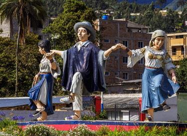 ECU1522AW Monument in Otavalo, Imbabura Province, Ecuador