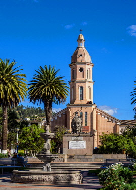ECU1256AWRF San Luis Church, Simon Bolivar Park, Otavalo, Imbabura Province, Ecuador