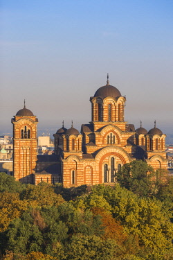 SB036RF Serbia, Belgrade View of St Mark's Church in Tasmajdan Park