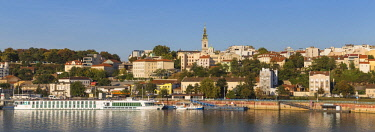 SB01075 Serbia, Belgrade, View of Sava River across to St.Michael's Cathedral in the historical center