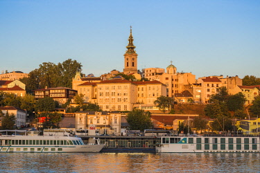 SB01079 Serbia, Belgrade, View of Sava River across to St.Michael's Cathedral in the historical center