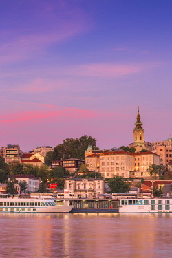 SB01081 Serbia, Belgrade, View of Sava River across to St.Michael's Cathedral in the historical center