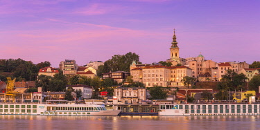 SB01082 Serbia, Belgrade, View of Sava River across to St.Michael's Cathedral in the historical center