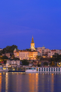 SB01083 Serbia, Belgrade, View of Sava River across to St.Michael's Cathedral in the historical center