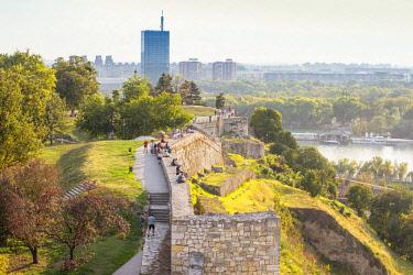 SB01100 Serbia, Belgrade, Kalemegdan Park, Belgrade Fortress and Sava River