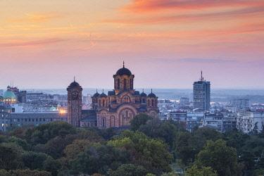 SB01141 Serbia, Belgrade View of St Mark's Church in Tasmajdan Park