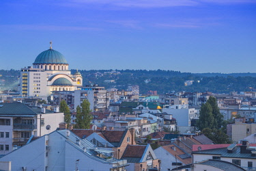 SB01142 Serbia, Belgrade, View of St Sava Orthodox Temple
