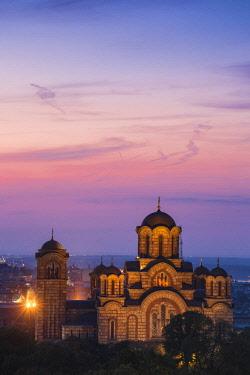 SB01144 Serbia, Belgrade View of St Mark's Church