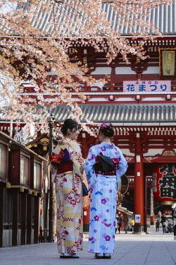 JAP1427AW Japanese women with traditional kimono, Asakusa, Tokyo, Japan (MR)