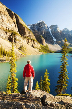ARCOAS000260 Moraine Lake in the Canadian Rockies is one of the most picturesque, beautiful places in the whole of the Rocky mountains. The green/blue colour of the water is caused by rock flour, from glaciers ref...