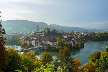 SWI8155AW Laufenburg with river Rhein, Aargau, Switzerland