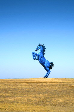 US13277 USA, Colorado, 32' High Blue Mustange Sculpture, Public Arts Commission, Denver International Airport, Colorado