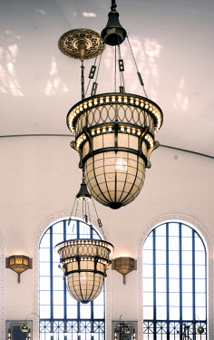 US13299 Union Station, Train Station, Great Hall, Ornamental Chandeliers, Denver, Colorado