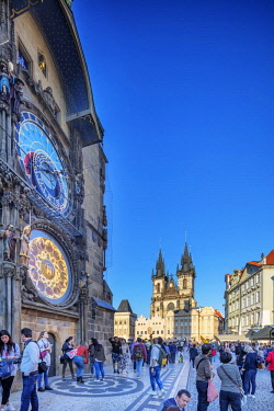 CZE2093 Europe, Czech Republic, Prague, Unesco site, Old Town Square Astronomical Clock and Our Lady before Tyn church