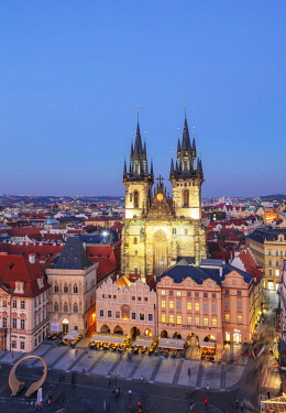 CZE2095 Europe, Czech Republic, Prague, Unesco site, Old Town Square, Our Lady before Tyn church