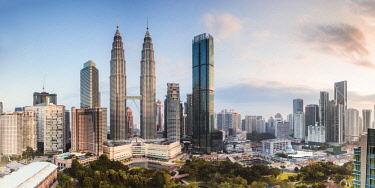 MAY0300AWRF Skyline with KLCC and Petronas towers, Kuala Lumpur, Malaysia