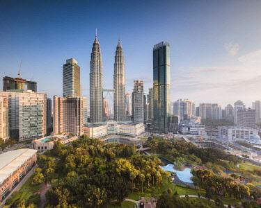 MAY0272AW Skyline with KLCC and Petronas towers, Kuala Lumpur, Malaysia