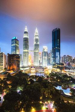 MAY0275AW Skyline with KLCC and Petronas towers, Kuala Lumpur, Malaysia
