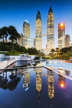 MAY0280AW Petronas towers reflected, Kuala Lumpur, Malaysia