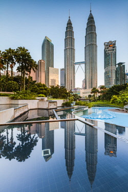 MAY0281AW Petronas towers reflected, Kuala Lumpur, Malaysia